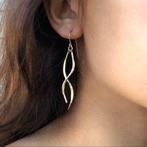 Lia Sophia Silver Curved Dangle Drop Earrings